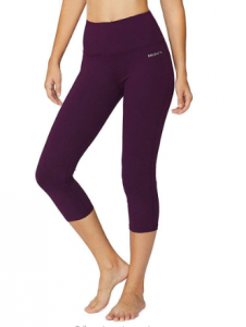 BALEAF Women's High Waisted Yoga Leggings Workout Capri Tummy-control Pants With Pocket