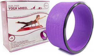 Stretching Yoga Wheel - Supports Warm Ups, Poses, Backbends - Extra Wide Dharma Wheel Prop With Double Sided Padding For Maximum Comfort And Support - Use At Home, Gym Or Studio - From Clever Yoga