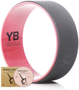 YOGABODY Jumbo Yoga Wheel with DVD, 15 inches, Baby Pink Gray
