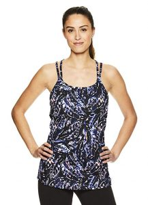 Gaiam Women's Strappy Racerback Yoga Tank Top w Built-in Medium Impact Wireless Sports Bra