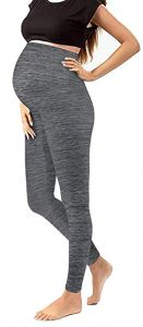 Maternity Leggings Over The Belly Pants Stretch Nursing Clothes Space Grey