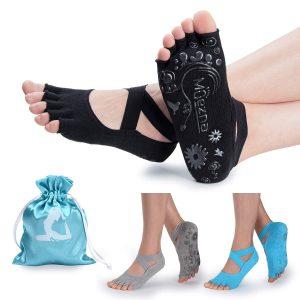 Muezna Non-slip Yoga Socks For Women, Toeless Anti-skid
