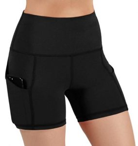 ODODOS High Waist Out Pocket Yoga Short Tummy Control Workout Running Athletic Non-see-through Yoga Shorts