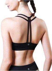 Queenieke Women's Light Support Double-T Back Wire-free Pad Yoga Sports Bra