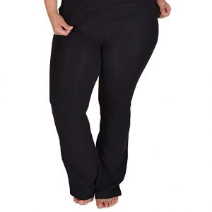 Stretch is Comfort Women's Fold over Cotton Plus Size Yoga Pants