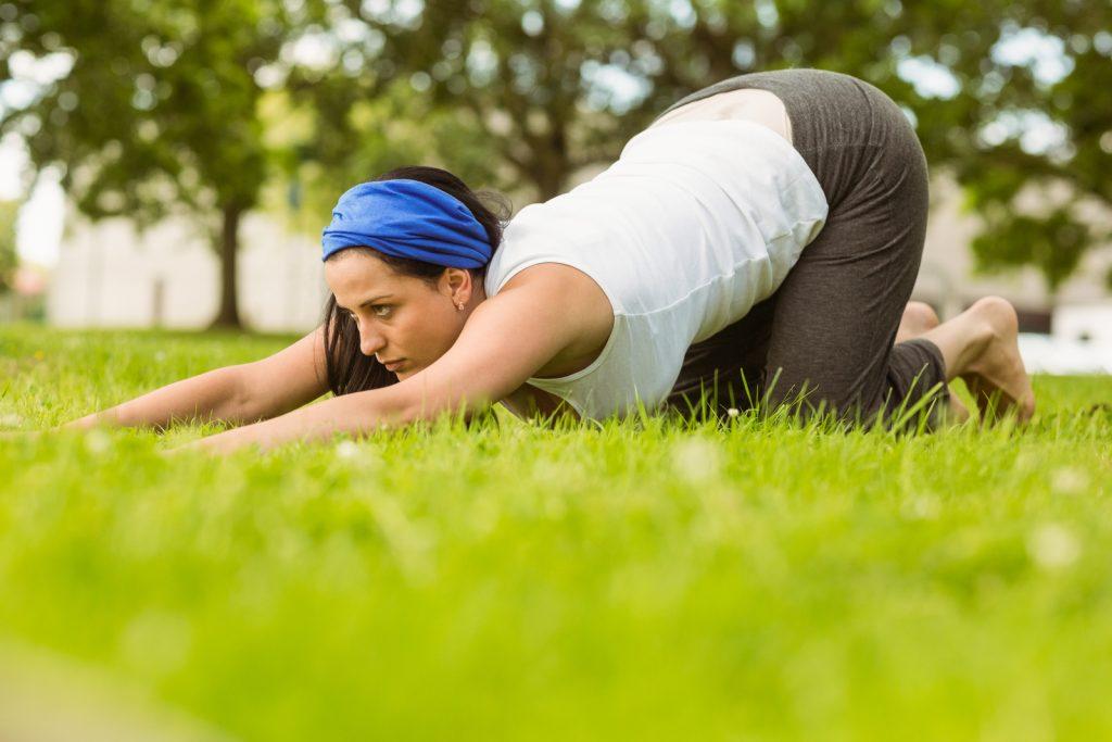 Yoga in grass